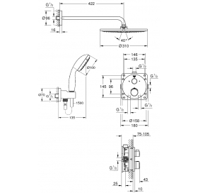 Набор скрытого монтажа для душа Grohe Grohtherm SmartControl, 26406SC0