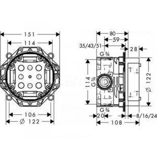 Скрытая часть смесителя HANSGROHE IBOX UNIVERSAL 01800180