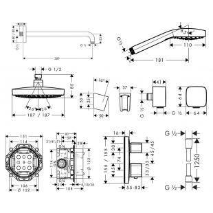 Набор для комплектации душа  HANSGROHE ShowerSet Croma Select E/Ecostat E Душевой набор (верхний, ру
