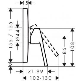 Верхняя часть смесителя для душа HANSGROHE Logis Loop 71267000