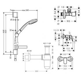 Набор смесителей Hansgrohe Logis 100, с вентилями и сифоном, 711716511