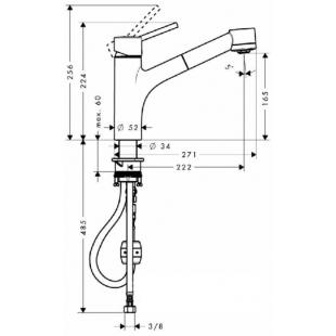 Смеситель для кухни однорычажный  с выдвижным изливом Hansgrohe Talis E, 32841000