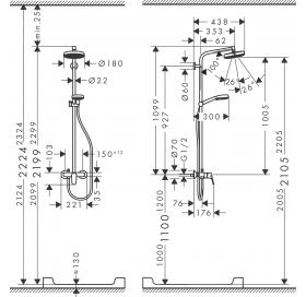 Душевая система Hansgrohe Crometta 160 Showerpipe  1,60м 27266400