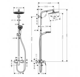Душевая система Crometta S 240 1jet Showerpipe 27269000