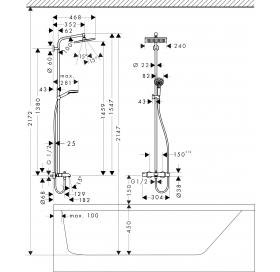 Душевая система для ванны Hansgrohe Crometta E 240 1jet Showerpipe  с термостатом, хром ( 27298000 )