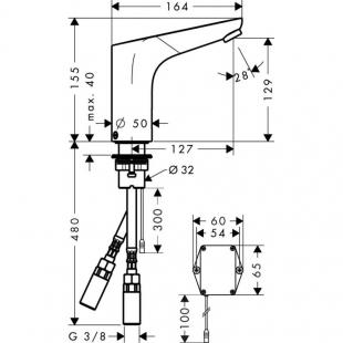 Смеситель для раковины электронный Hansgrohe Focus, 31171000