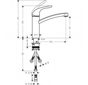 Смеситель для кухни однорычажный Hansgrohe Focus E 31784000