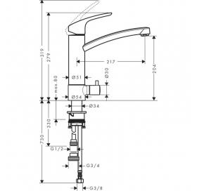 Смеситель для кухни однорычажный с запорным вентилем к посудомоечной машине Hansgrohe Focus E2 31803