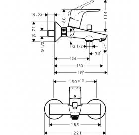 Смеситель для ванны однорычажный Hansgrohe Focus E2 31940000