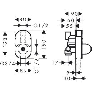 Cкрытая часть смесителя для 31746000 Hansgrohe Focus S 31741180