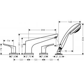 Смеситель для ванны двухвентильный на 4 отверстия Hansgrohe Focus E2 31936000