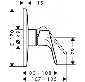 Смеситель для душа однорычажный скрытый монтаж Hansgrohe Focus 31964000