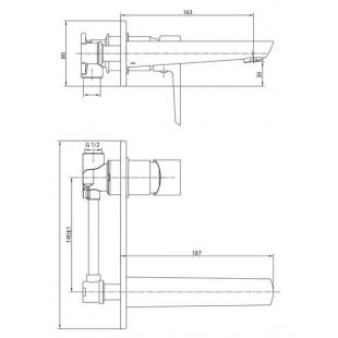Смеситель для раковины IMPRESE BRECLAV, скрытый монтаж, VR-05245