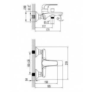 Смеситель для ванны IMPRESE NOVA OPAVA, настенный монтаж, 10075
