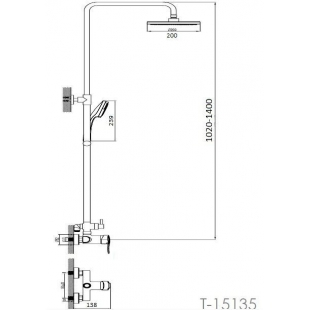 Душевая система IMPRESE NOVA VLNA, с 3 типами струи, T-15135
