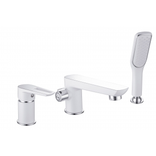Смеситель для ванны Imprese BRECLAV, врезной, на три отверстия, хром/белый, 85245W