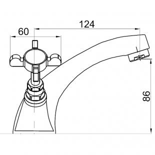 Смеситель для раковины Imprese Cuthna, двухвентильный, 05280 stribro
