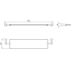 Полочка стеклянная Imprese Cuthna, серебро, 160280 stribro