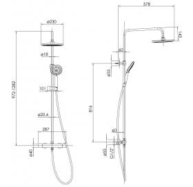 Душевая система с термостатом Imprese CENTRUM W Т-15510