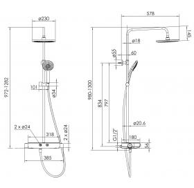 Душевая система с термостатом Imprese CENTRUM W Т-15520