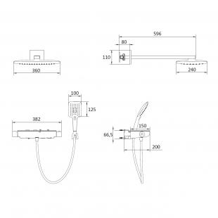 Комплект для душа с термостатом IMPRESE CENTRUM SQP, VR-15610B