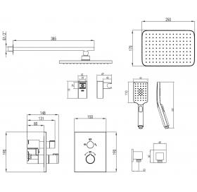 Комплект для душа IMPRESE CENTRUM VR-50400 на 2 потребителя