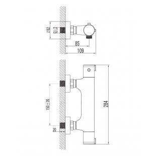 Термостат для душа IMPRESE CENTRUM, 15400
