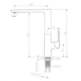 Кухонный смеситель IMPRESE GRAFIKY, однорычажный,  ZMK041807150