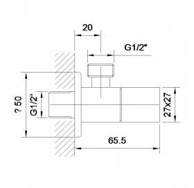 Угловой вентиль Impres Grafiky, четверть оборота G1/2-G1/2, ZMK041807001