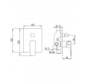 Смеситель скрытого монтажа для душа и ванны Imprese Valtice, VR-10320(Z)