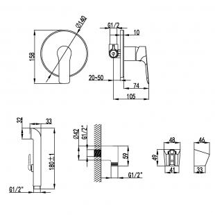 Набор скрытого монтажа Imprese Kucera, с гигиеническим душем, VR30105Z-BT