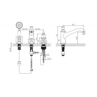 Смеситель для ванны врезной на три отверстия IMPRESEPODZIMA LEDOVE, хром, ZMK01170105