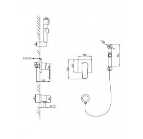 Набор смеситель скрытого монтажа IMPRESE GRAFIKY, с гигиеническим душем, ZMK041807120