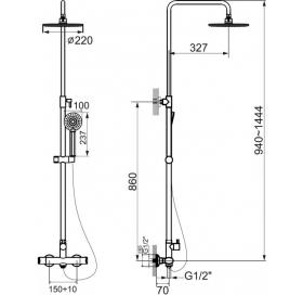 Душевая система IMPRESE CENTRUM, с термостатом, T-15420