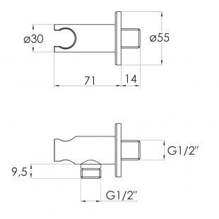 Шланговое подсоединение с настенным держателем, IMPRESE, форма R, HC03