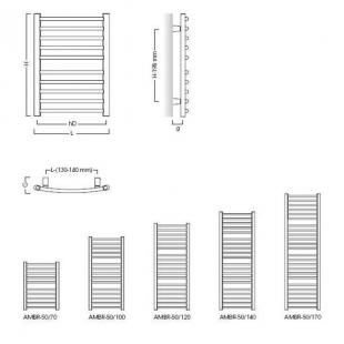 Полотенцесушитель электрический Instal Projekt BOLERO, белый, LUN-50/120+EGB-06C1