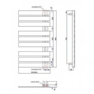 Полотенцесушитель водяной/электрический Instal Projekt NAMELESS, графит, Nam-50/90C12