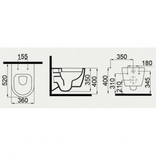 Чаша подвесного унитаза с функцией биде Idevit Alfa 3104-2615
