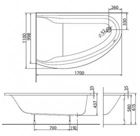 Ванна акриловая KOLO Mirra 170 XWA3370000 правосторонняя + ножки SN8