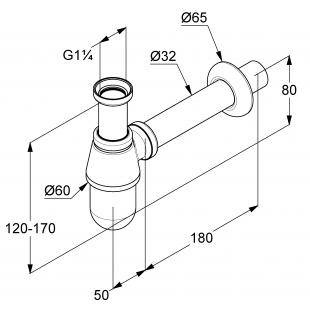 Сифон бутылочный для раковины KLUDI G1 1/4 1010505-00