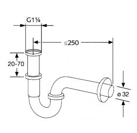 Сифон трубный для раковины KLUDI  G1 1/4 1025005-00