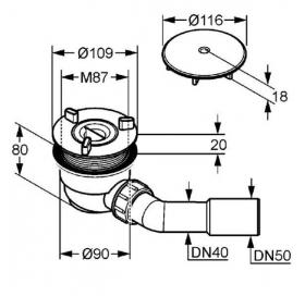 Сифон KLUDI TASSO 90 Сифон для душевого поддона (комплект) 2109805-00