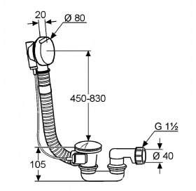 Сифон KLUDI ROTEXA 2000 Слив-перелив для ванны, G 1 1/2 2140905-00