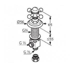 Боковой вентиль KLUDI ADLON (518170520) cold