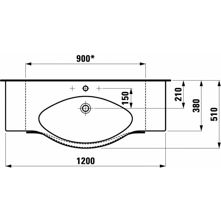 Раковина накладная Laufen PALACE 120x51 см, H8127040001041