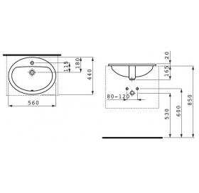 Раковина встраиваемая Laufen PRO 56x44 см, с отверстием