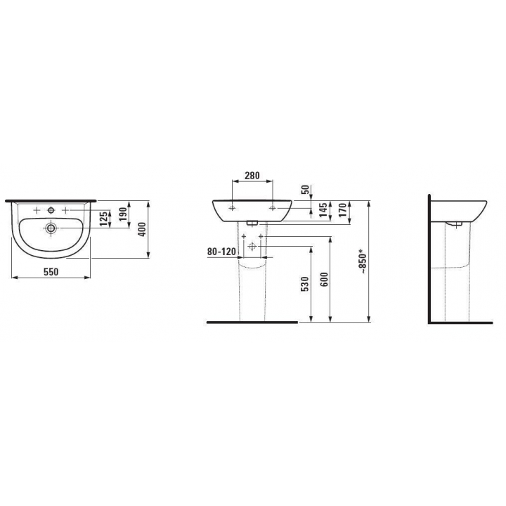Раковина подвесная Laufen PRO C 55x40 см, с отверстием