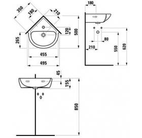 Раковина уговаяая Laufen PRO 35 см, с отверстием, H8169560001041