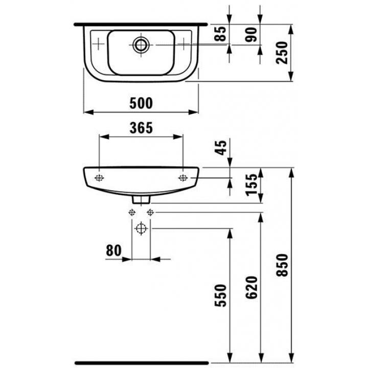 Раковина подвесная Laufen PRO C 50x25 см, с отверстием, левая