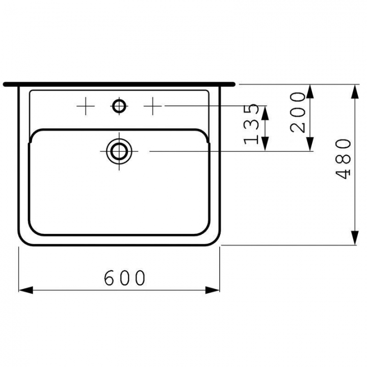 Раковина подвесная Laufen PRO A 60x48 см, с отверстием